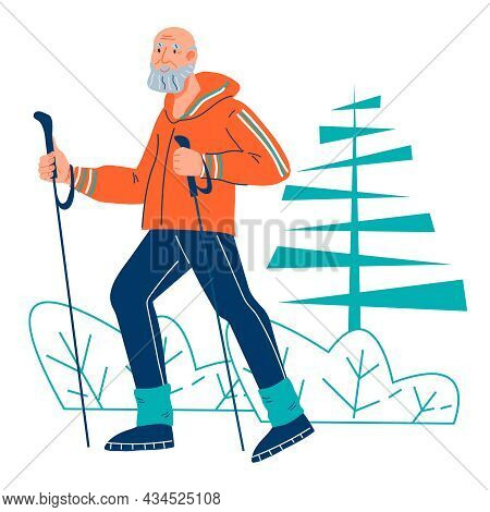 Elderly Man Or Grandfather At Nordic Walk Training Outdoors, Flat Cartoon Vector Illustration Isolat