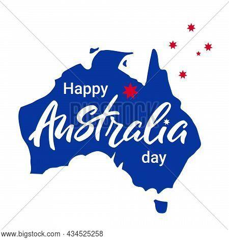 Happy Australia Day. Australia Lettering On Background Of Blue Map.