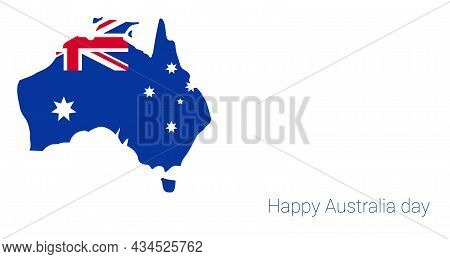 Happy Australia Day Banner. Map Of Australia With Flag And Heart