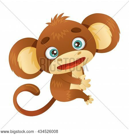 Cute Funny Monkey Baby Animal Cartoon Vector Illustration On White Background