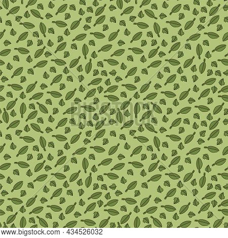 Mint-herbal Natural Tea Pattern. Tea Time. A Substrate For Herbal Decoction Textiles. Texture Herbal