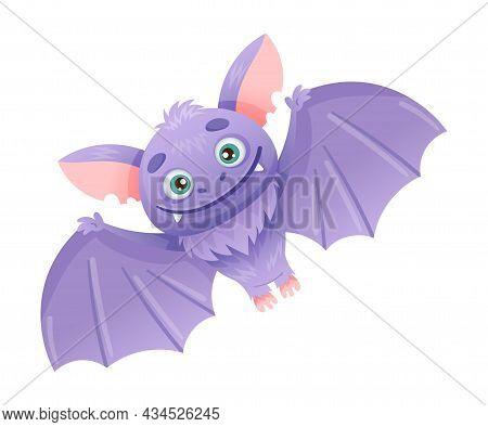 Cute Funny Bat Baby Animal Cartoon Vector Illustration On White Background