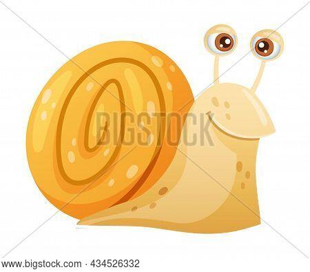 Cute Funny Snail Gastropod Mollusk Cartoon Vector Illustration On White Background