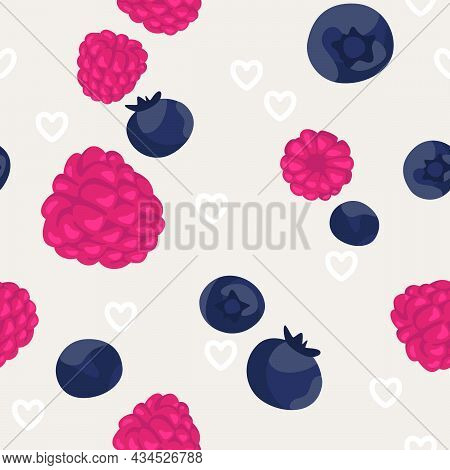 Seamless Pattern With Berries And Hearts. Grey Background. Beautiful Vector Seamless Pattern With Fr