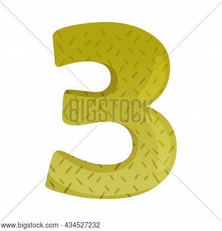 Cute Three Number. 3 Childish Numeral For Card, Poster, Nursery Design Cartoon Vector Illustration
