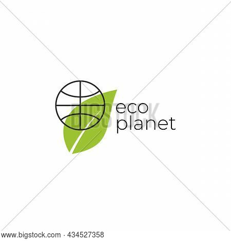 Eco Planet Logo With Green Leaves And Planet. Natural, Eco. Natural Badge For Green Company.