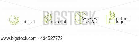 Set Of Labels, Logos With Text. Natural, Eco. Eco Logo. Natural Logo. Natural  Badges For Green Comp