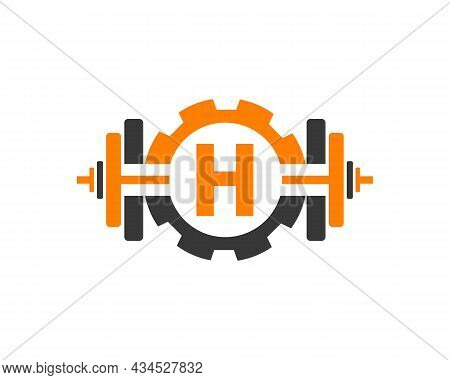 Fitness Gym Logo On Letter H. Fitness Club Icon With Exercising Equipment. Initial Alphabet Letter H