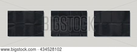 Set Of Crumpled Black Paper Texture. Abstract Dark Backgrounds Collection With Wrinkled Cardboard Te