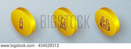 Set Isometric Line Bullet, Cartridges And Bulletproof Vest Icon. Vector
