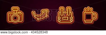 Set Line Photo Camera, Hunting Horn, Bulletproof Vest And Coffee Cup. Glowing Neon Icon. Vector