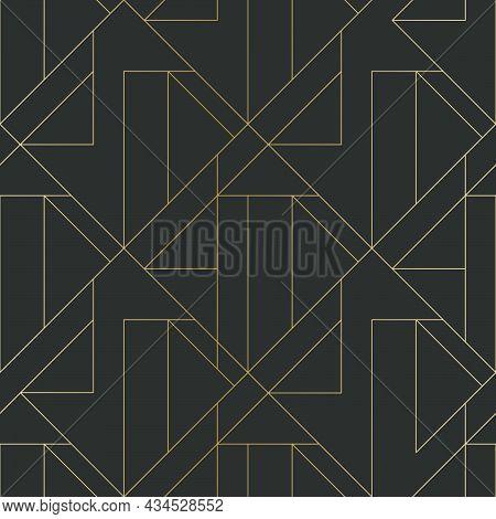 Golden Texture. Seamless Geometric Pattern. Golden Background. Vector Seamless Pattern. Geometric Ba