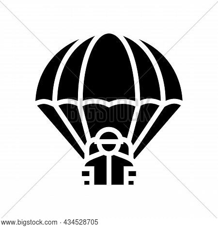 Parachute Soldier Glyph Icon Vector. Parachute Soldier Sign. Isolated Contour Symbol Black Illustrat
