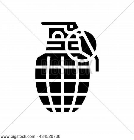 Grenade War Weapon Glyph Icon Vector. Grenade War Weapon Sign. Isolated Contour Symbol Black Illustr