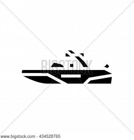 Wakeboard Ski Boat Glyph Icon Vector. Wakeboard Ski Boat Sign. Isolated Contour Symbol Black Illustr