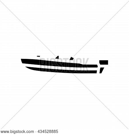 Runabout Boat Glyph Icon Vector. Runabout Boat Sign. Isolated Contour Symbol Black Illustration