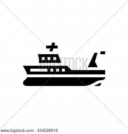Trawler Boat Glyph Icon Vector. Trawler Boat Sign. Isolated Contour Symbol Black Illustration