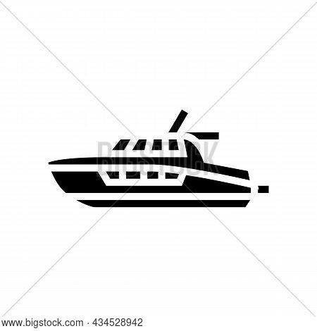 Cabin Cruiser Boat Glyph Icon Vector. Cabin Cruiser Boat Sign. Isolated Contour Symbol Black Illustr