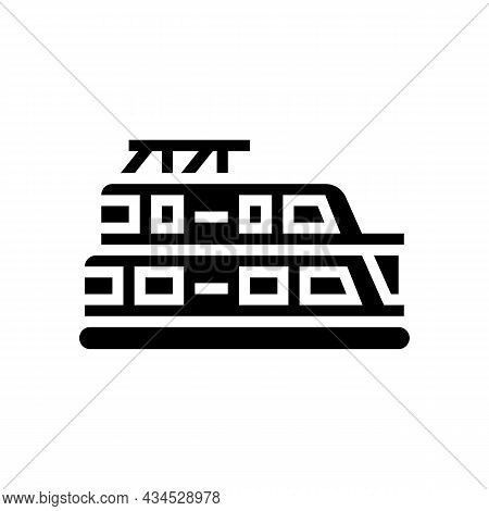 Houseboat Boat Glyph Icon Vector. Houseboat Boat Sign. Isolated Contour Symbol Black Illustration