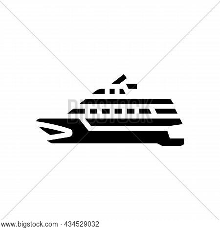 Catamaran Boat Glyph Icon Vector. Catamaran Boat Sign. Isolated Contour Symbol Black Illustration