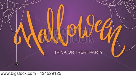 Halloween Banner With Hand-written Lettering. Website Spooky Or Banner Template. Calligraphy Of