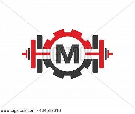 Fitness Gym Logo On Letter M. Fitness Club Icon With Exercising Equipment. Initial Alphabet Letter M