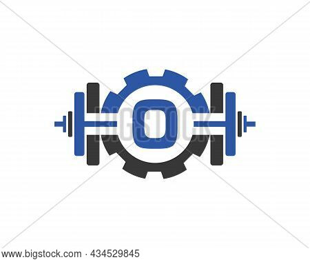 Fitness Gym Logo On Letter O. Fitness Club Icon With Exercising Equipment. Initial Alphabet Letter O