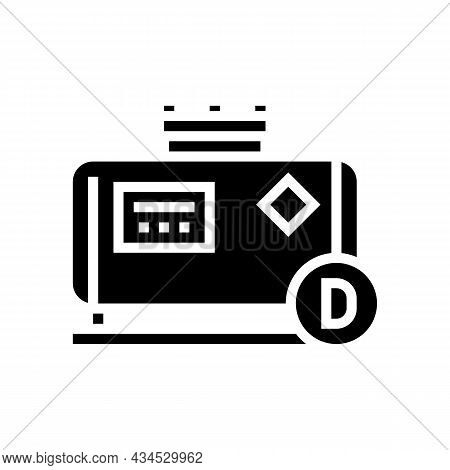 Diesel Gas Station Glyph Icon Vector. Diesel Gas Station Sign. Isolated Contour Symbol Black Illustr