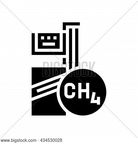 Methane Gas Station Glyph Icon Vector. Methane Gas Station Sign. Isolated Contour Symbol Black Illus