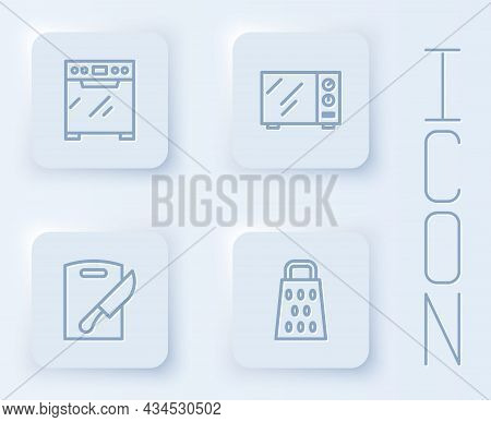Set Line Oven, Microwave Oven, Cutting Board And Knife And Grater. White Square Button. Vector