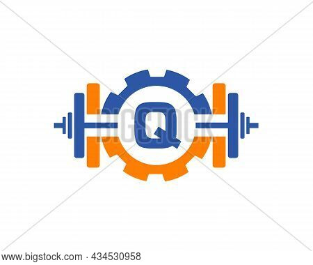 Fitness Gym Logo On Letter Q. Fitness Club Icon With Exercising Equipment. Initial Alphabet Letter Q