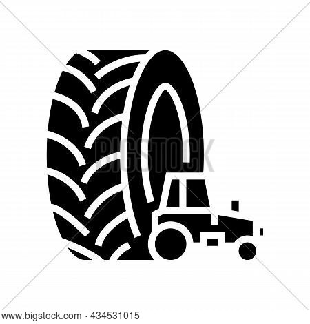 Farm Tractor Tires Glyph Icon Vector. Farm Tractor Tires Sign. Isolated Contour Symbol Black Illustr