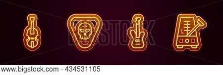 Set Line Violin, Guitar Pick, Electric Bass Guitar And Metronome With Pendulum. Glowing Neon Icon. V
