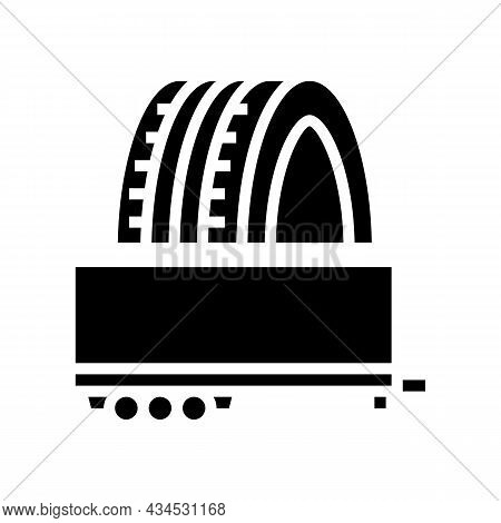 Trailer Tires Glyph Icon Vector. Trailer Tires Sign. Isolated Contour Symbol Black Illustration
