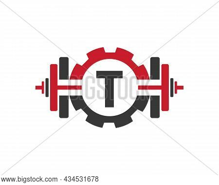 Fitness Gym Logo On Letter T. Fitness Club Icon With Exercising Equipment. Initial Alphabet Letter T