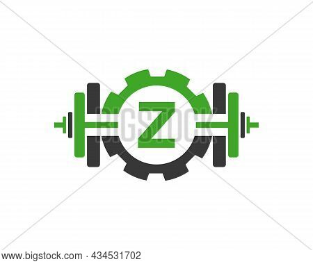Fitness Gym Logo On Letter Z. Fitness Club Icon With Exercising Equipment. Initial Alphabet Letter Z