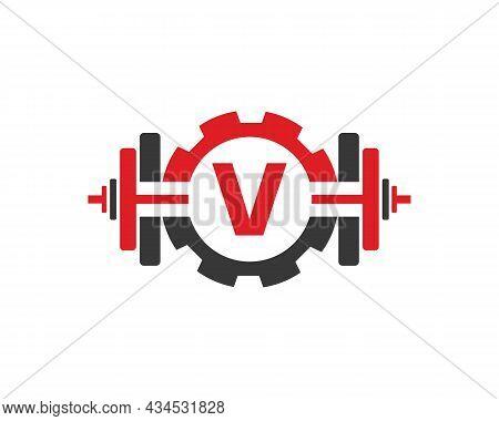 Fitness Gym Logo On Letter V. Fitness Club Icon With Exercising Equipment. Initial Alphabet Letter V