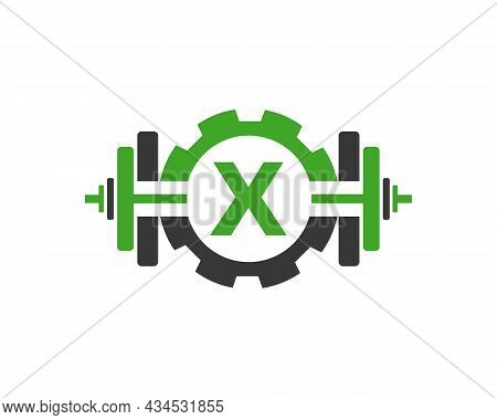 Fitness Gym Logo On Letter X. Fitness Club Icon With Exercising Equipment. Initial Alphabet Letter X