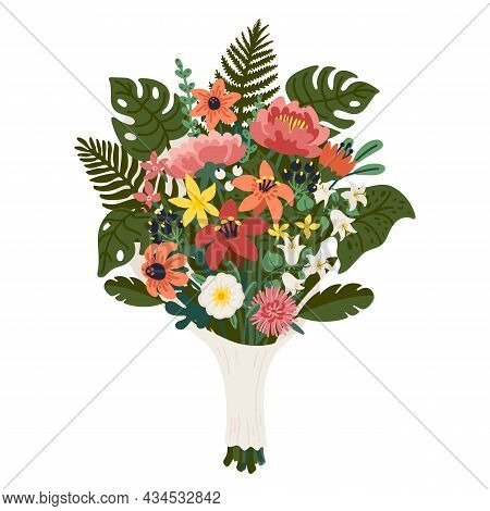 Flower Bouquet, Bunch Of Pink And Yellow Flowers And Green Branches. Vector Illustration In Flat Car