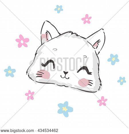 Hand Drawn Cat, Cute Sketch Vector Illustration, Design Children Print On T-shirt, Flowers