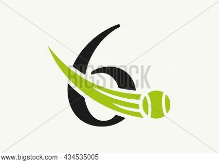Tennis Logo Design Template On Letter 6. Tennis Sport Academy, Club Logo With 6 Letter