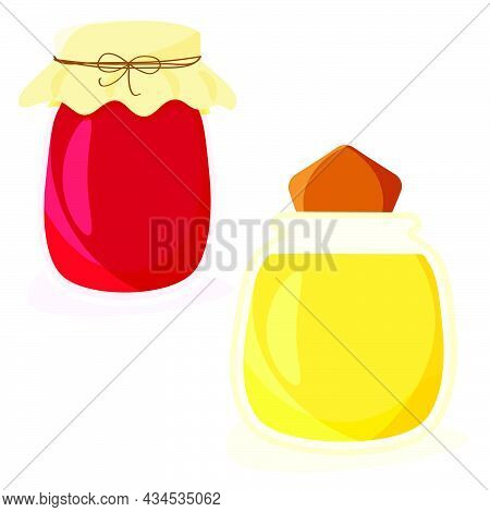 Two Glass Jars With Honey And Berry Jam Isolated On White. Sweet Preserves. Vector Illustration Flat