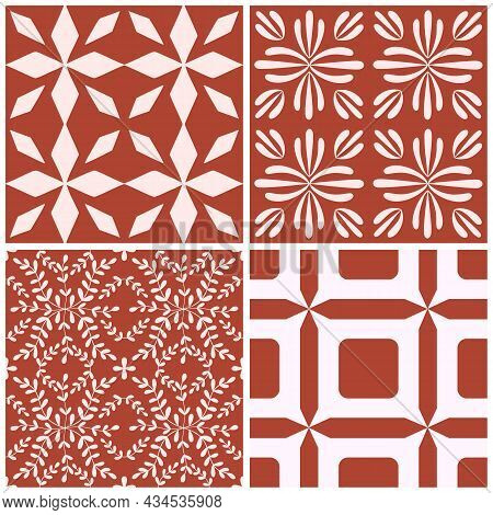 Tile Portugal Flower Seamless Pattern Set. Red Color Geometric Background. Traditional Azulejo Repea