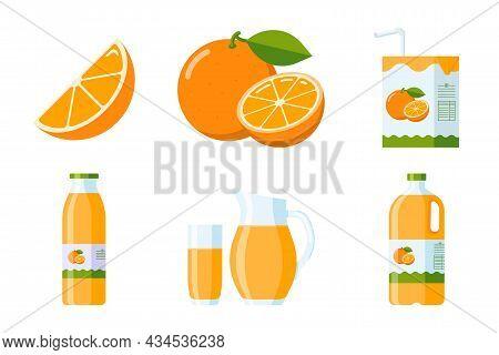 Orange Fruit And Juice Elements Collection. Flat Style Citrus Items Set: Orange Slice And Whole Frui