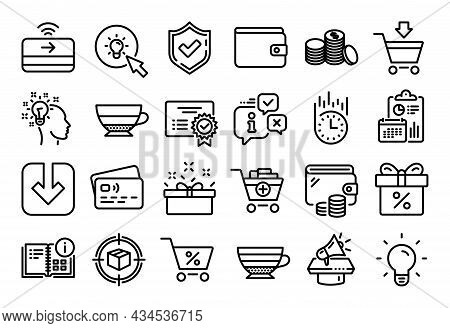 Vector Set Of Light Bulb, Discount Offer And Fast Delivery Line Icons Set. Calendar Report, Money Wa