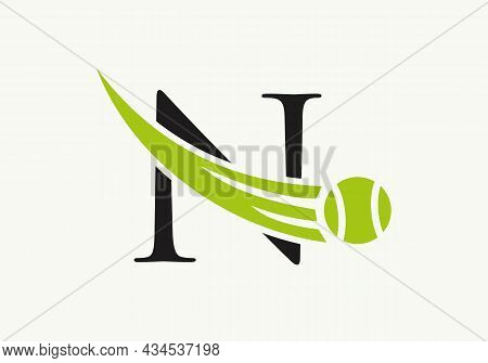 Tennis Logo Design Template On Letter N. Tennis Sport Academy, Club Logo With N Letter