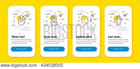 Vector Set Of Eye Drops, Face Id And Oculist Doctor Line Icons Set. Ui Phone App Screens With Line I