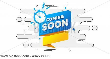 Coming Soon Paper Banner. Geometric Ad Banner On Flow Pattern. Timer Announcement Tag. New Open Time
