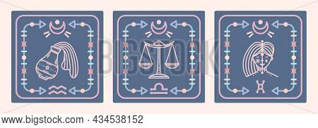 A Set Of Vector Maps With Air Signs Of The Zodiac. Astrological Cards.
