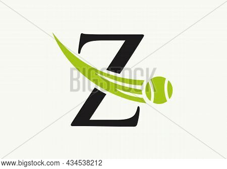 Tennis Logo Design Template On Letter Z. Tennis Sport Academy, Club Logo With Z Letter